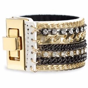 Cara Leather & Chain Cuff Gold/ White Bracelet OS